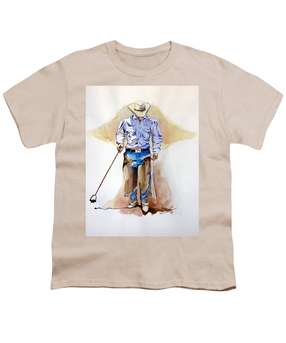 Western Youth T-Shirt featuring the painting Branding Blisters by Jimmy Smith