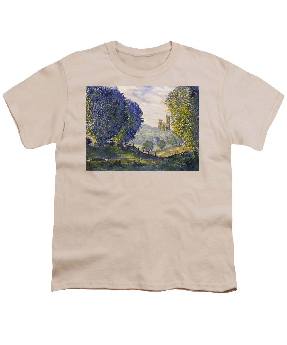 Glenn Marshall Yorkshire Artist Youth T-Shirt featuring the painting Bridlington Priory From Woldgate On The Hockney Trail by Glenn Marshall