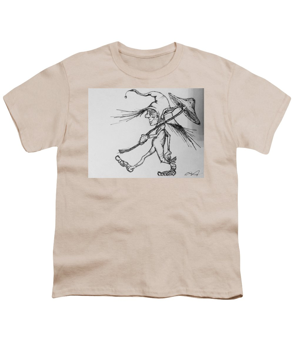 Fae Youth T-Shirt featuring the drawing Brownie by Jason Strong