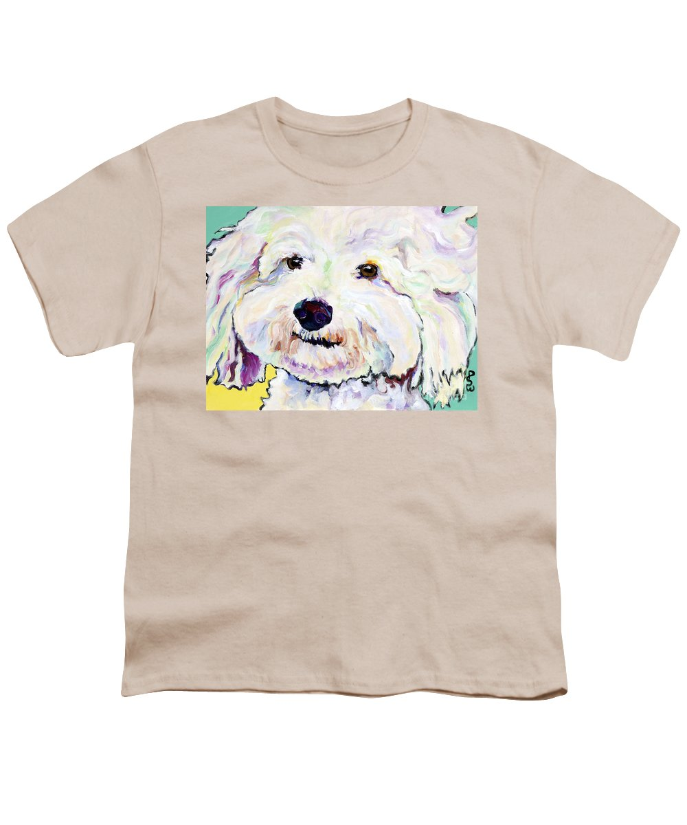 Bischon Youth T-Shirt featuring the painting Buttons  by Pat Saunders-White