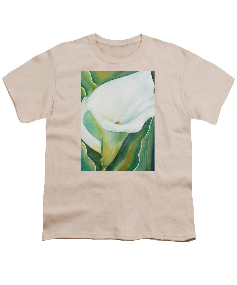 Flower Youth T-Shirt featuring the painting Calla Lily by Ruth Kamenev