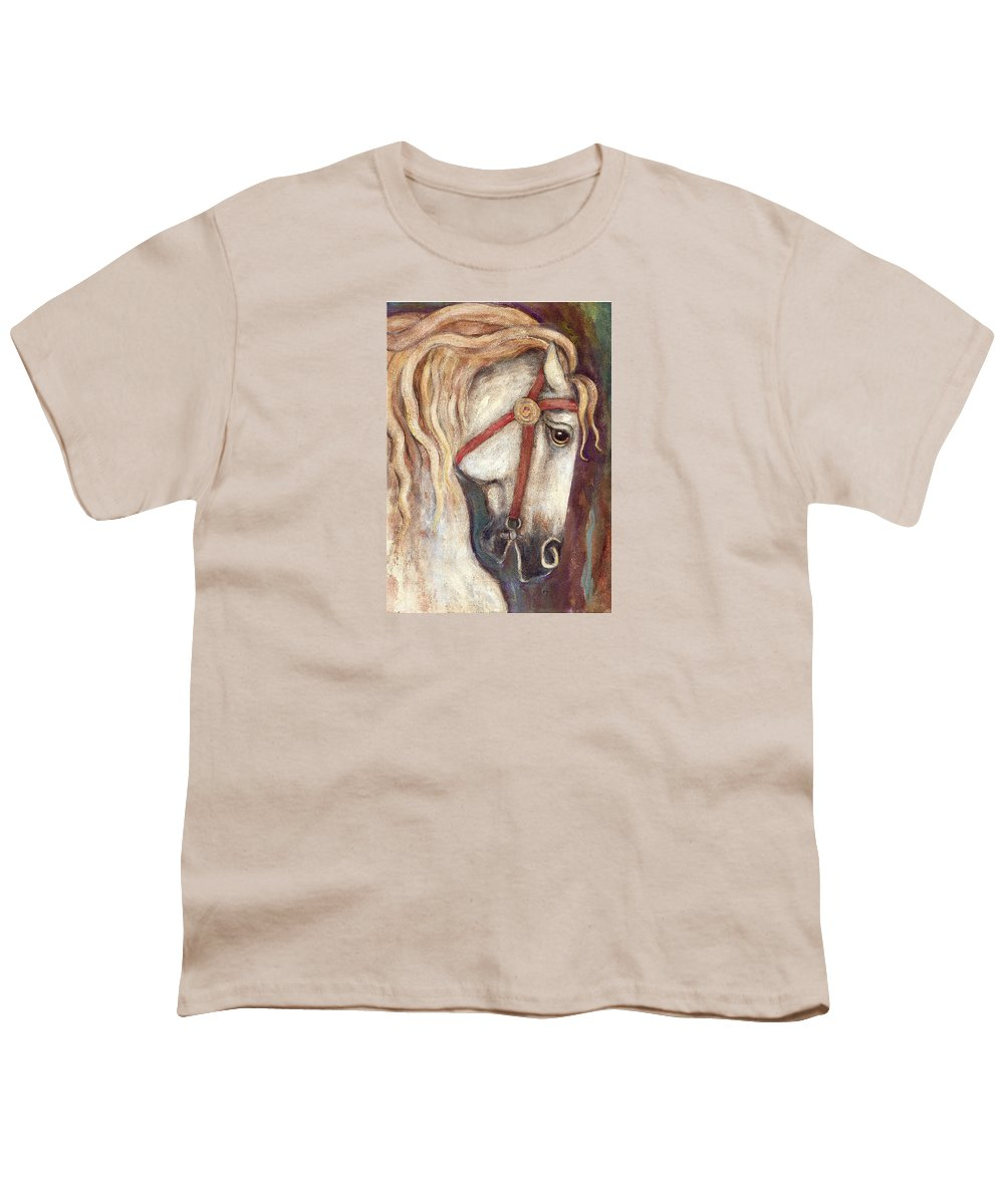 Horse Painting Youth T-Shirt featuring the painting Carousel Horse Painting by Frances Gillotti