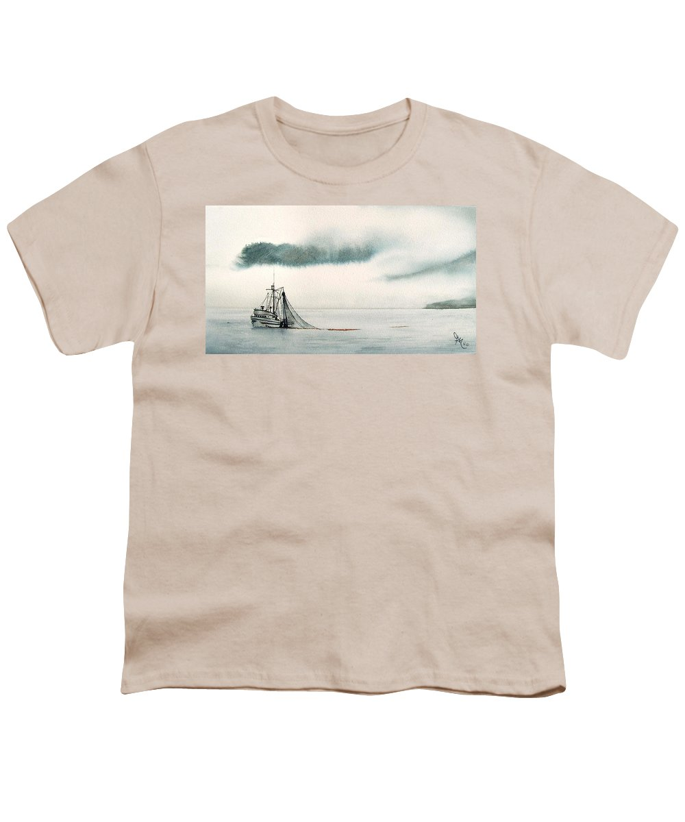 Fishing Boat Youth T-Shirt featuring the painting Catch Of The Day by Gale Cochran-Smith