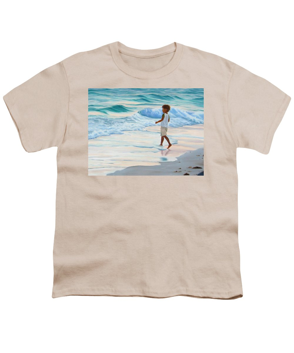 Child Youth T-Shirt featuring the painting Chasing The Waves by Lea Novak