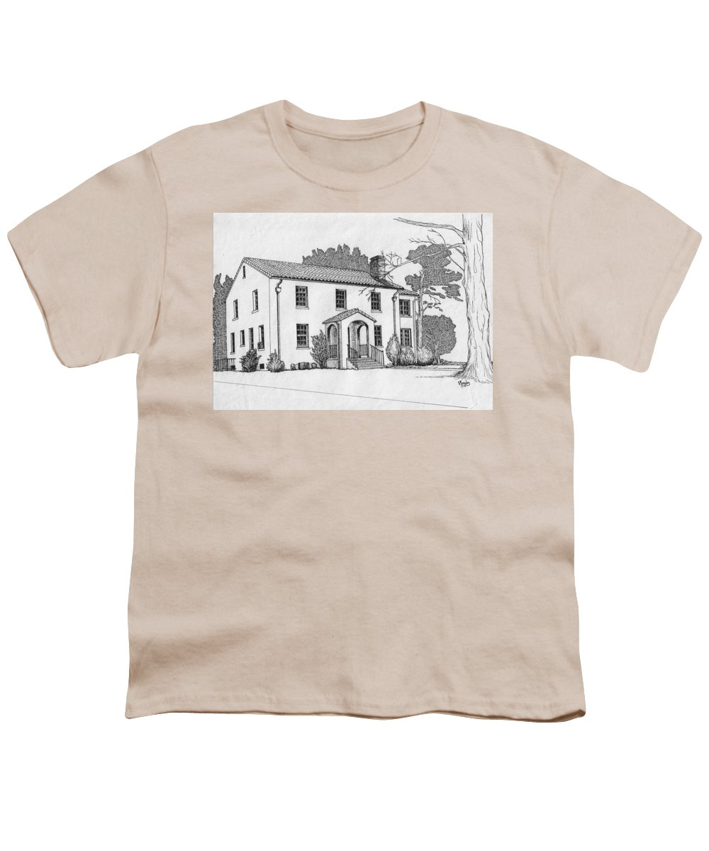 Drawing - Pen And Ink Youth T-Shirt featuring the drawing Colonel Quarters 2 - Fort Benning Ga by Marco Morales