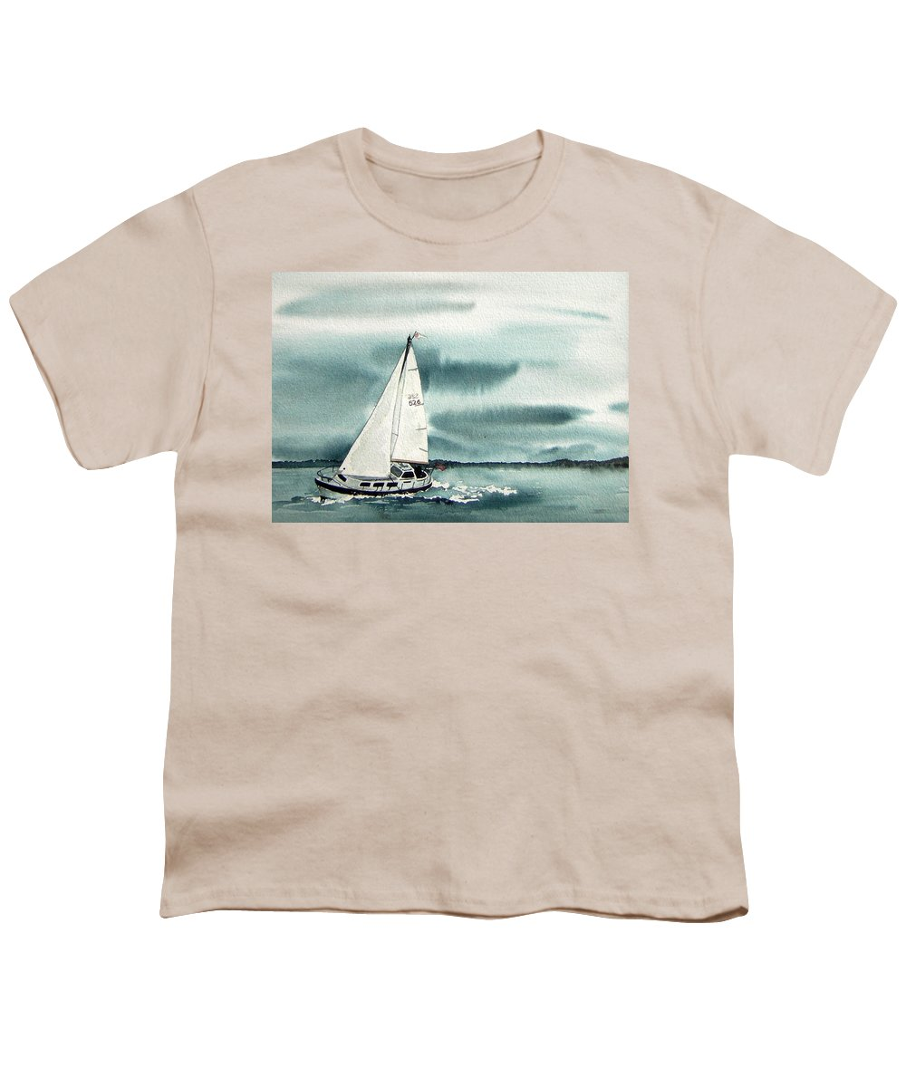 Sailing Youth T-Shirt featuring the painting Cool Sail by Gale Cochran-Smith