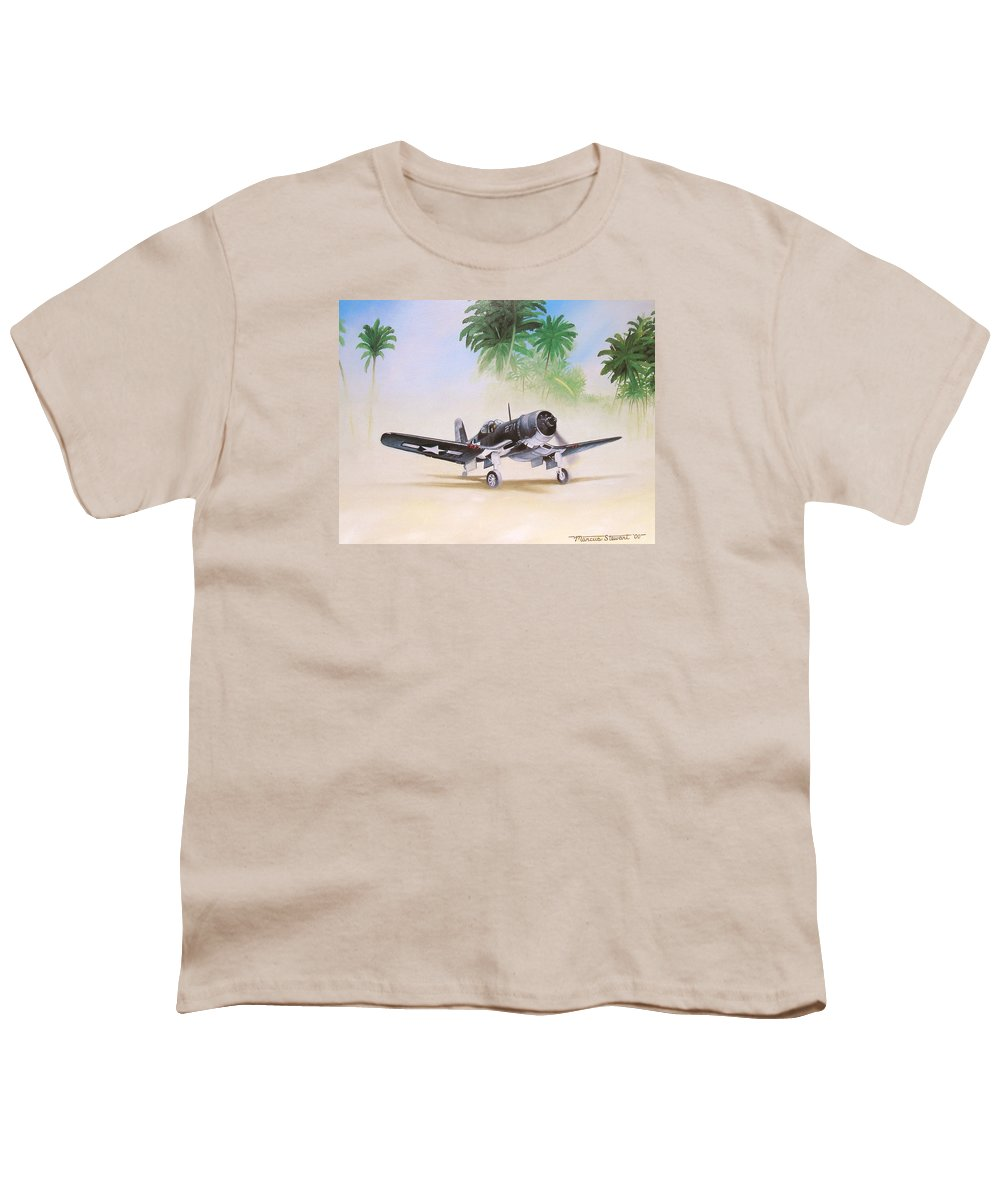 Aviation Youth T-Shirt featuring the painting Corsair Preflight by Marc Stewart