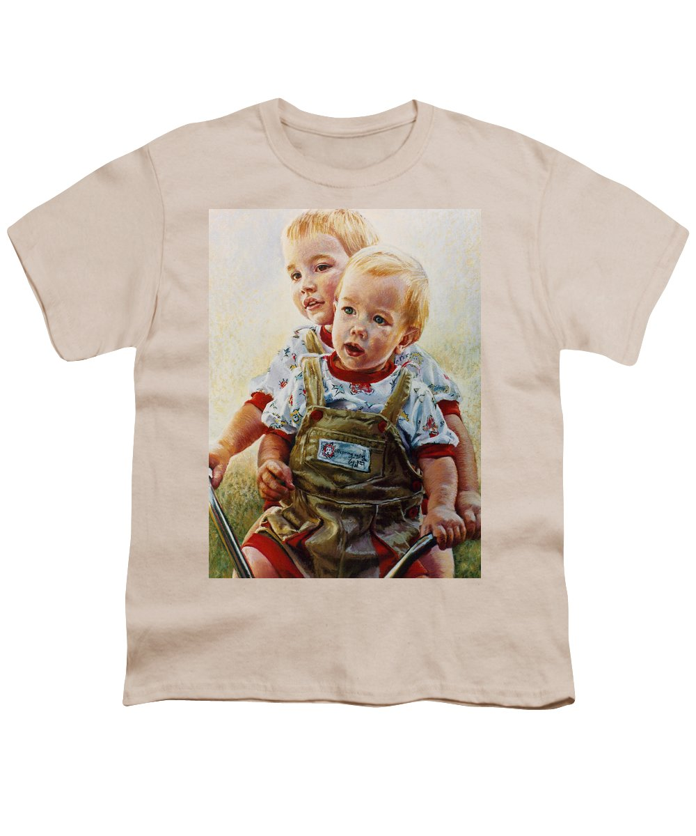 Pastel Portrait Youth T-Shirt featuring the pastel Cousins by Jean Hildebrant