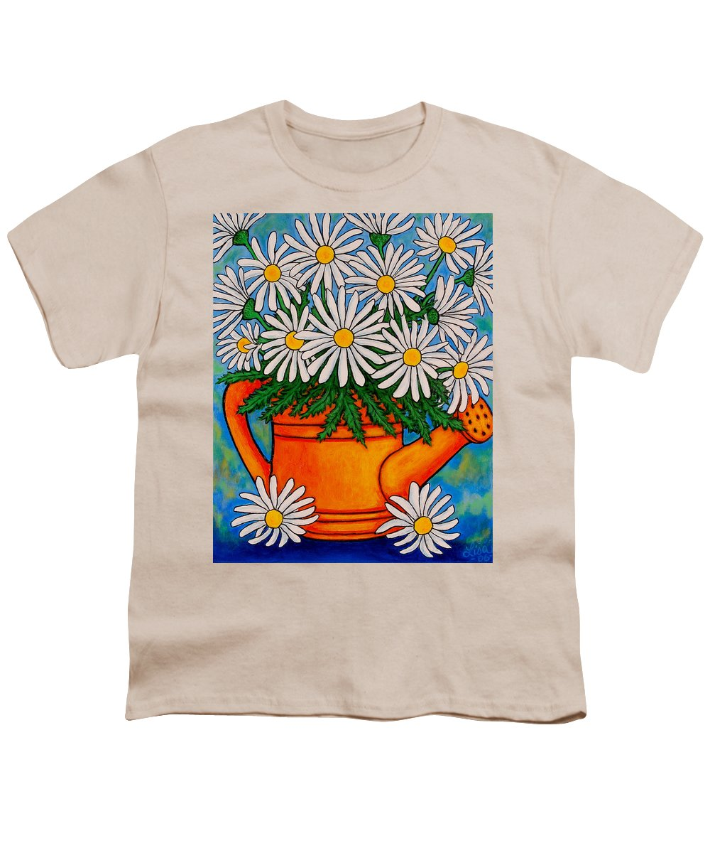 Daisies Youth T-Shirt featuring the painting Crazy For Daisies by Lisa Lorenz