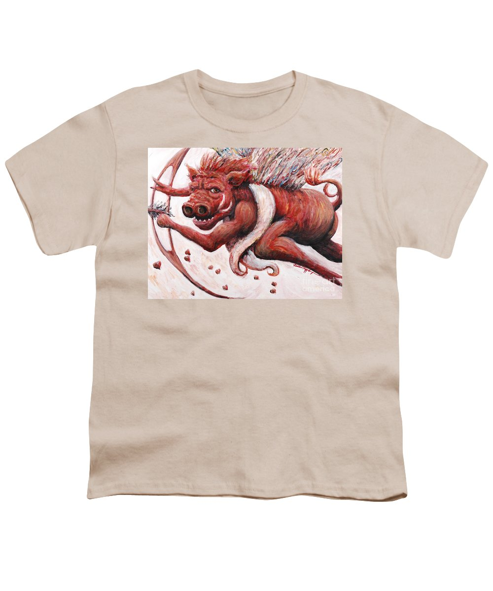 Pig Youth T-Shirt featuring the painting Cupig by Nadine Rippelmeyer