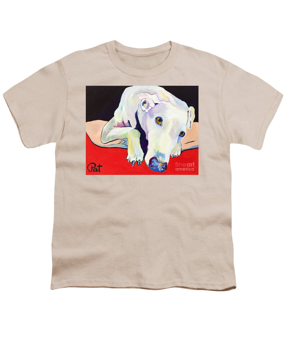 Animals Pets Greyhound Youth T-Shirt featuring the painting Cyrus by Pat Saunders-White