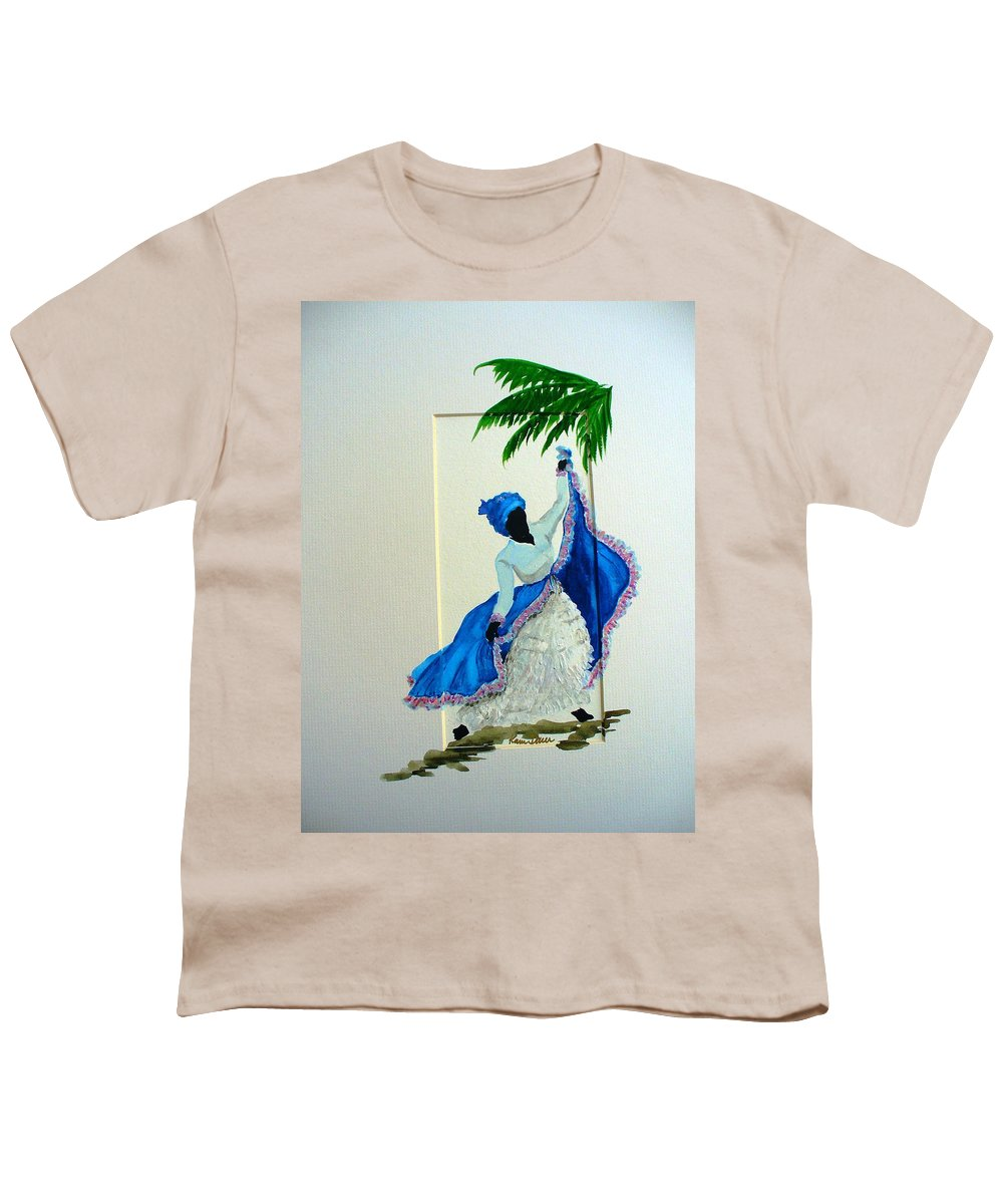 Folk Dance Caribbean Tropical Youth T-Shirt featuring the painting Dance De Pique by Karin Dawn Kelshall- Best