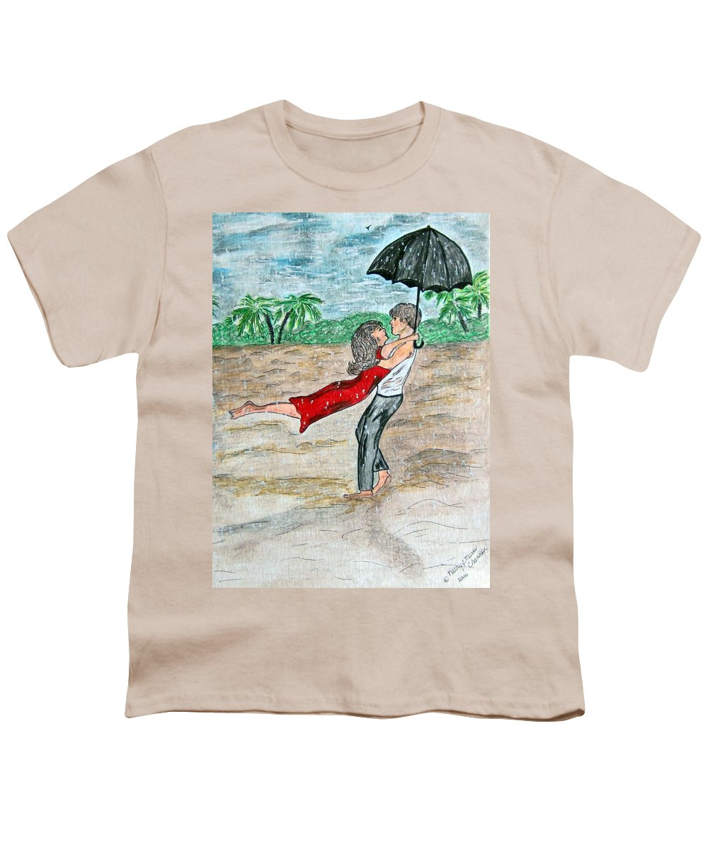 Dancing Youth T-Shirt featuring the painting Dancing In The Rain On The Beach by Kathy Marrs Chandler