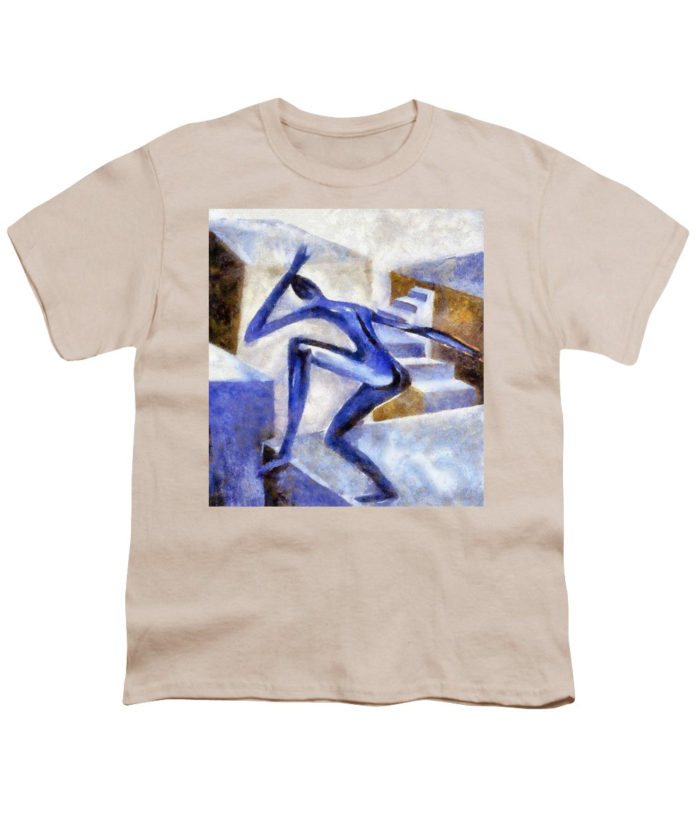 Conceptual Youth T-Shirt featuring the painting Dancing Off The Edge Of The World by Michelle Calkins