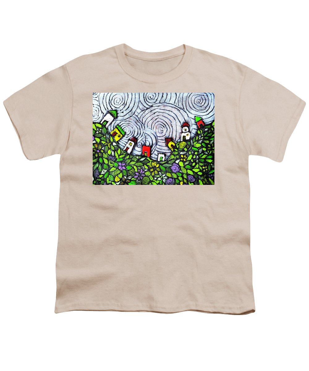 Folk Art Youth T-Shirt featuring the painting Down In The Valley by Wayne Potrafka