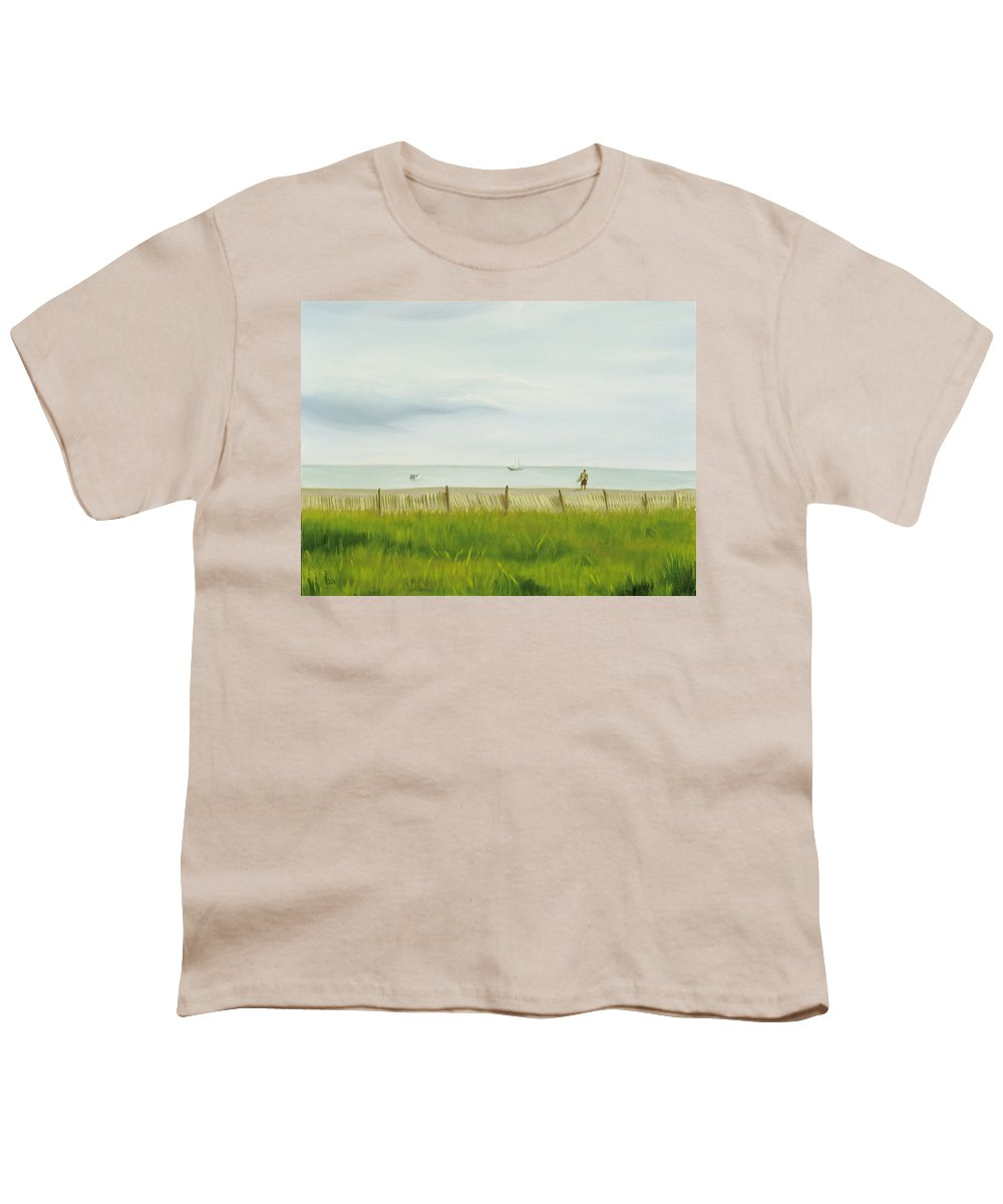 Seascape Youth T-Shirt featuring the painting Evening At Cape May by Lea Novak