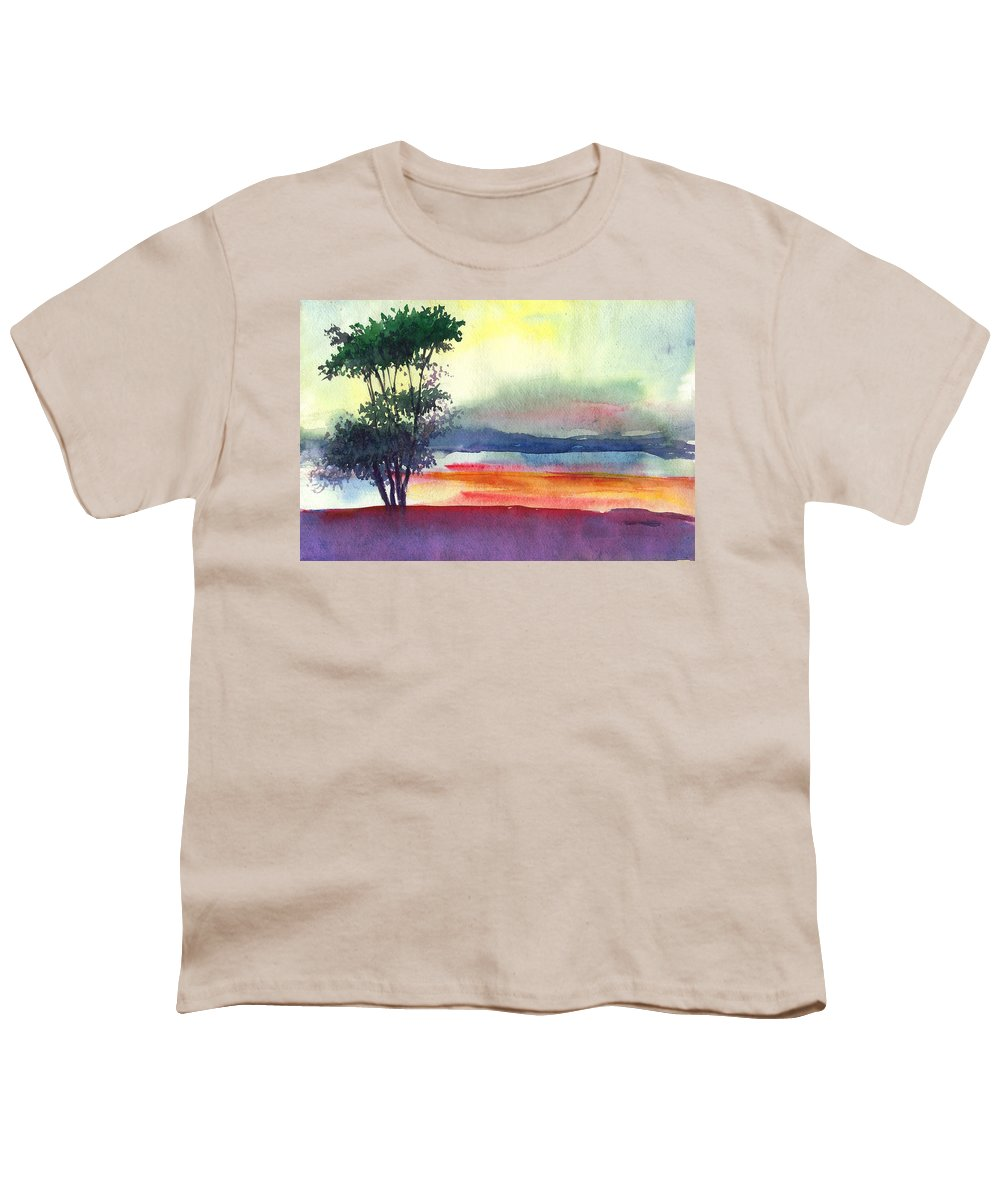 Water Color Youth T-Shirt featuring the painting Evening Lights by Anil Nene