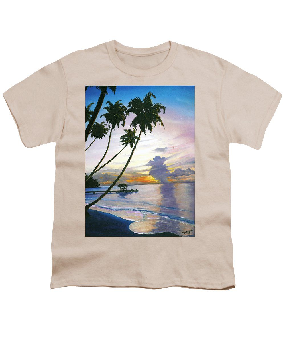 Ocean Painting Seascape Painting Beach Painting Sunset Painting Tropical Painting Tropical Painting Palm Tree Painting Tobago Painting Caribbean Painting Original Oil Of The Sun Setting Over Pigeon Point Tobago Youth T-Shirt featuring the painting Eventide Tobago by Karin Dawn Kelshall- Best