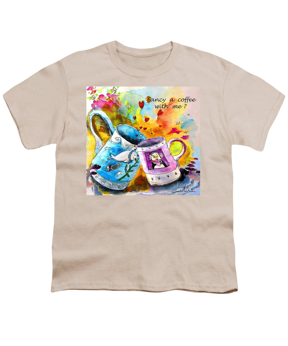 Cafe Crem Youth T-Shirt featuring the painting Fancy A Coffee by Miki De Goodaboom
