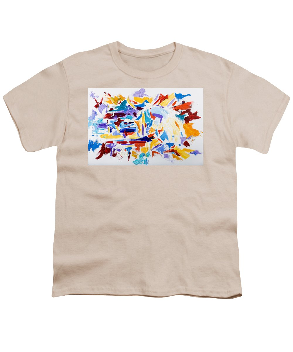 Abstract Yellow Youth T-Shirt featuring the painting Fiesta by Shannon Grissom