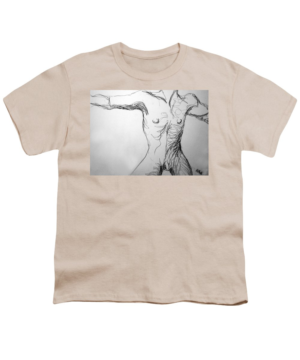 Figure Youth T-Shirt featuring the drawing Figure Drawing 5 by Nancy Mueller