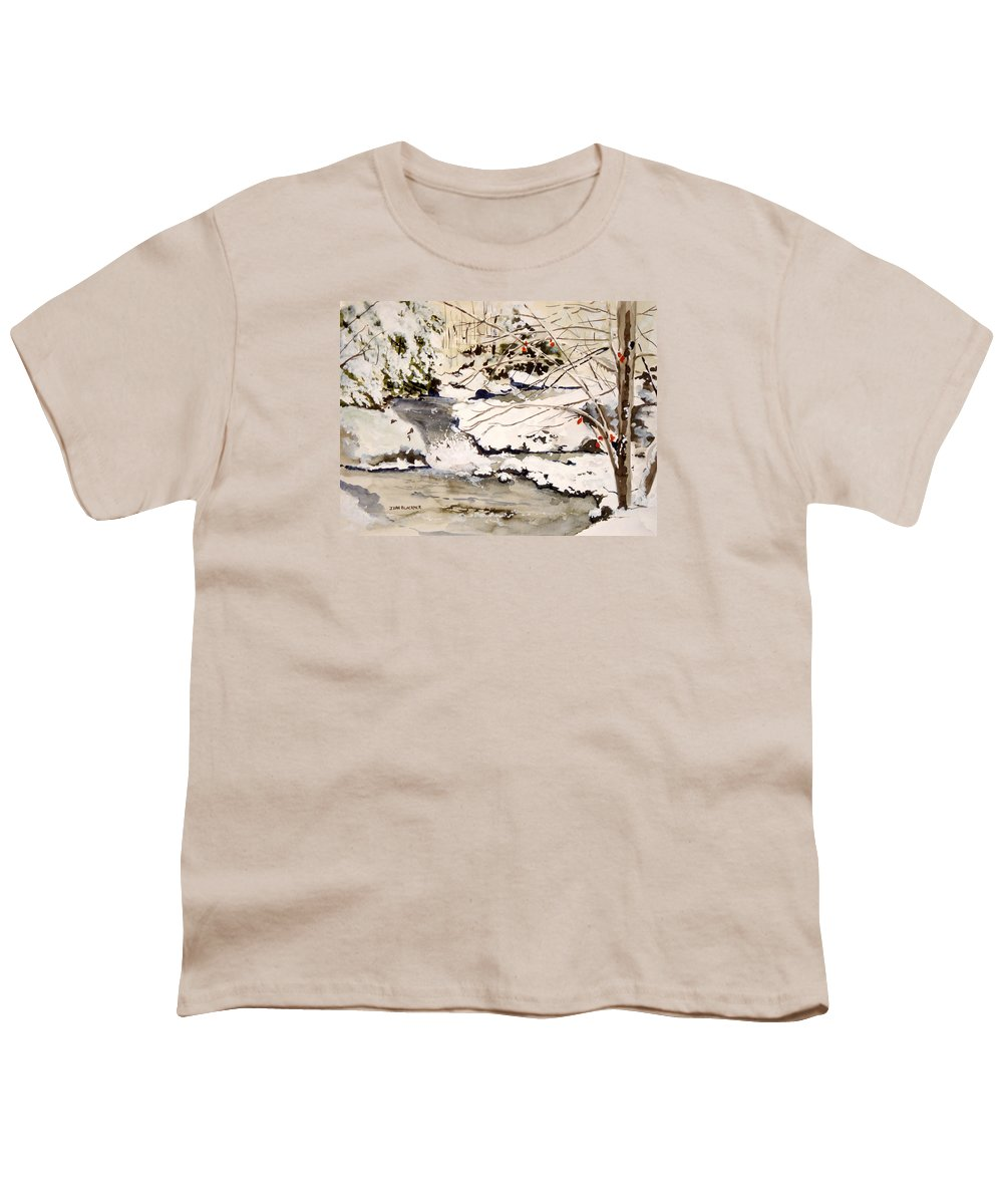 Winter Scene Youth T-Shirt featuring the painting First Snowfall by Jean Blackmer