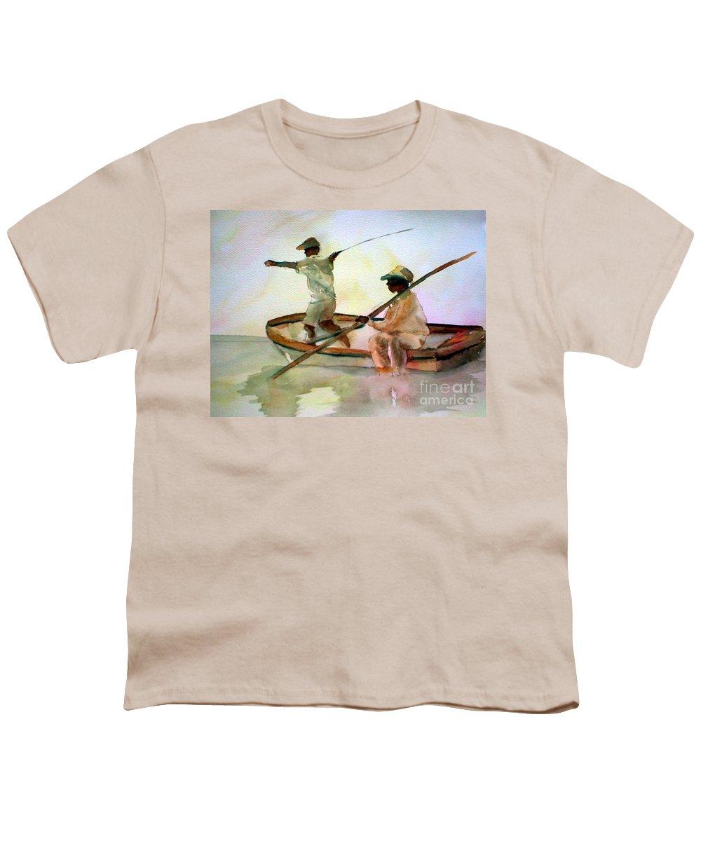 Fishing Youth T-Shirt featuring the painting Fishing by Rhonda Hancock