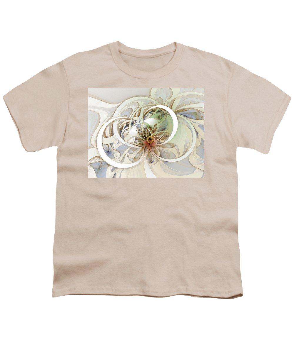 Digital Art Youth T-Shirt featuring the digital art Floral Swirls by Amanda Moore