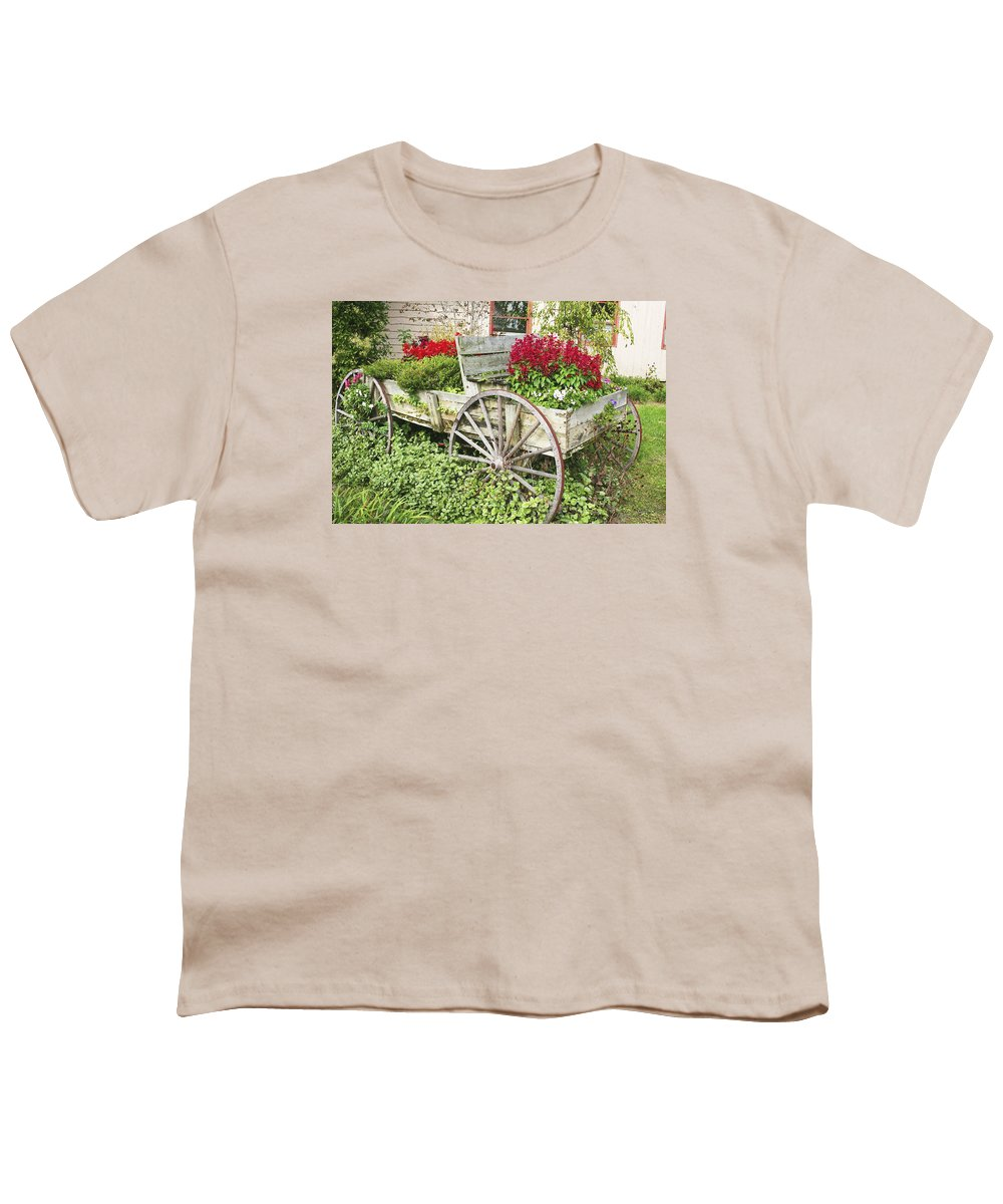 Wagon Youth T-Shirt featuring the photograph Flower Wagon by Margie Wildblood
