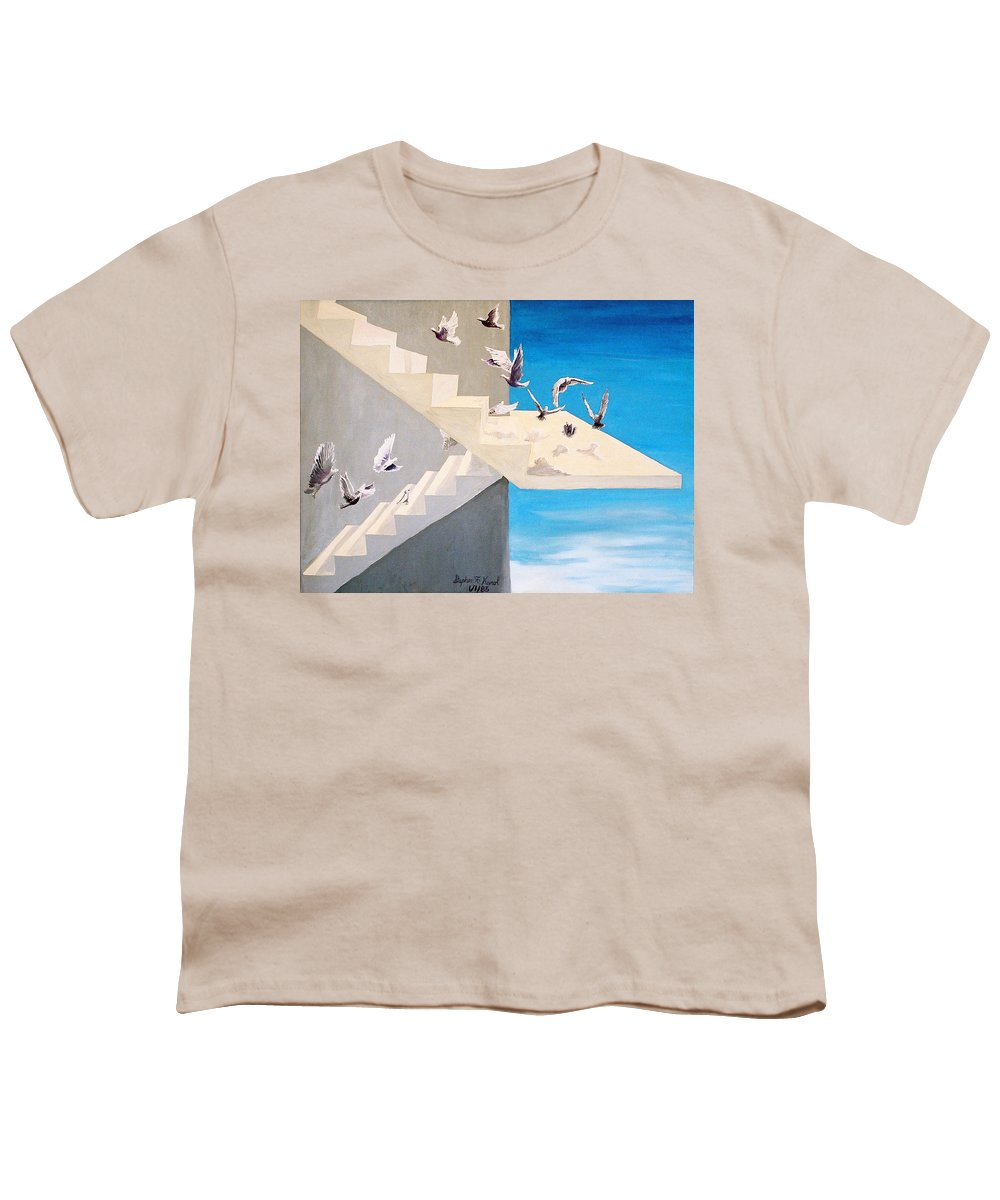 Birds Youth T-Shirt featuring the painting Form Without Function by Steve Karol