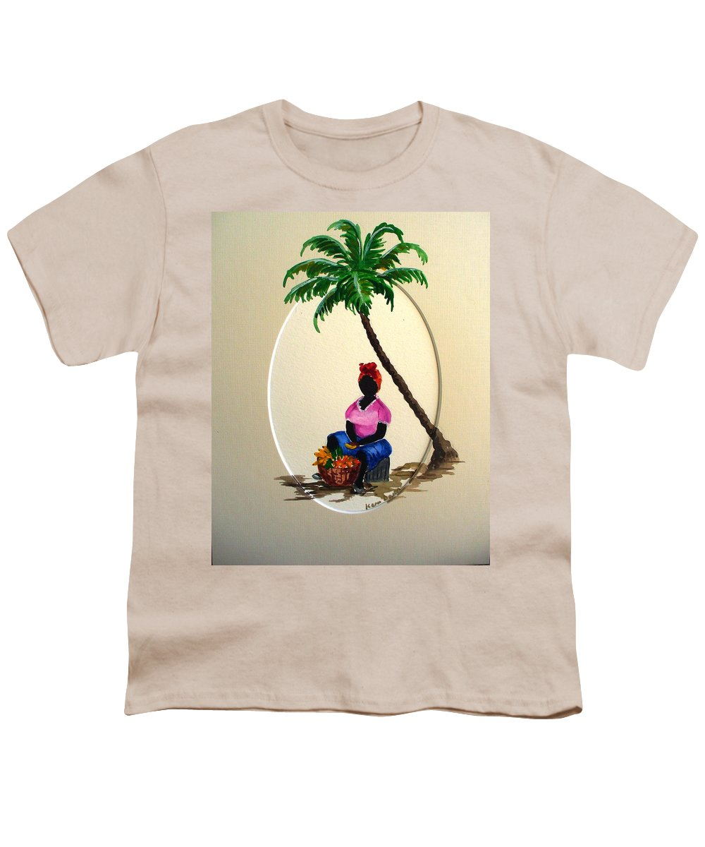 Youth T-Shirt featuring the painting Fruit Seller by Karin Dawn Kelshall- Best