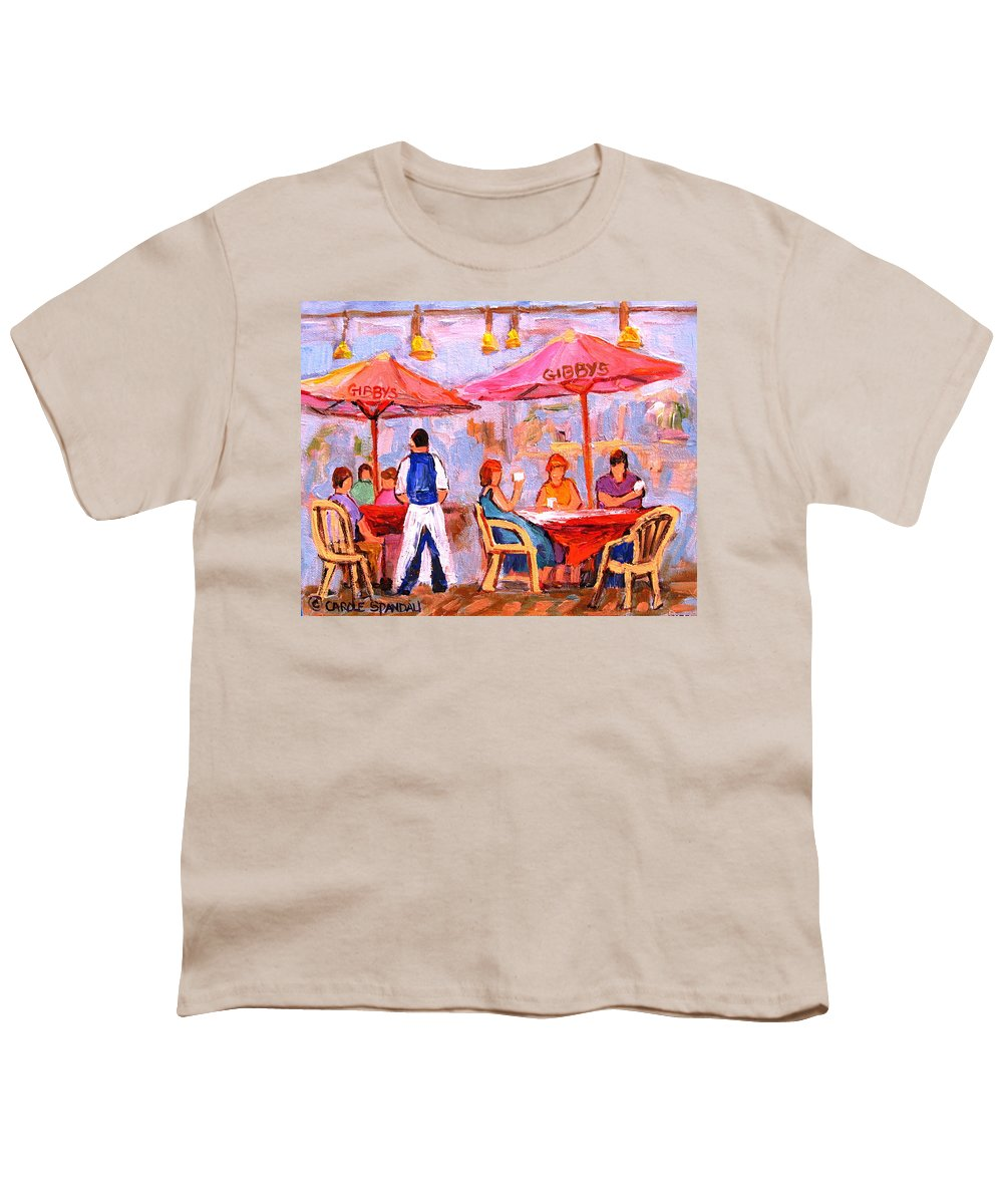 Gibbys Restaurant Montreal Street Scenes Youth T-Shirt featuring the painting Gibbys Cafe by Carole Spandau