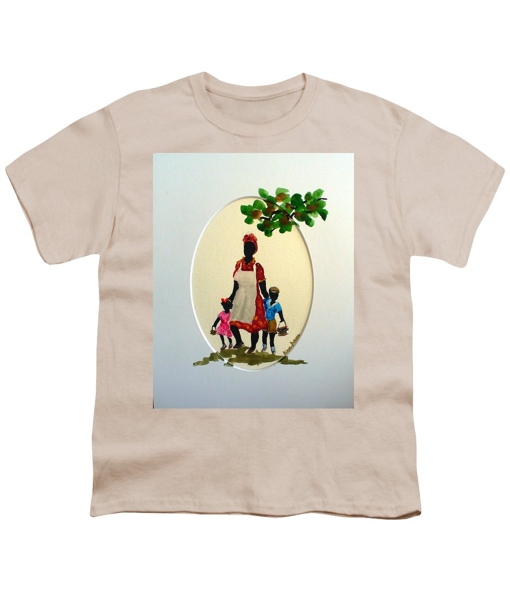 Caribbean Children Youth T-Shirt featuring the painting Going To School by Karin Dawn Kelshall- Best