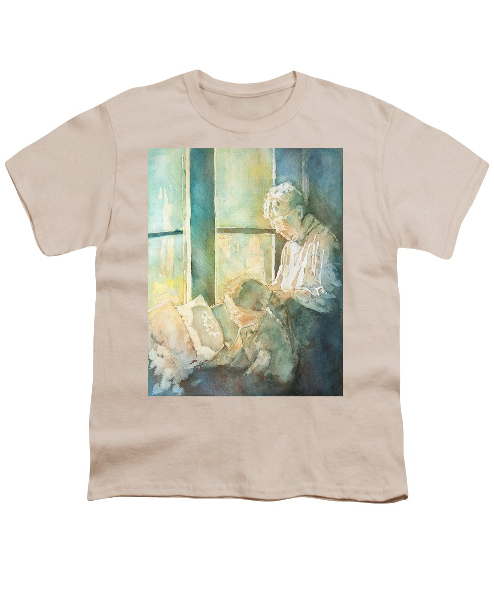 Family Youth T-Shirt featuring the painting Gramdma Braids by Jenny Armitage
