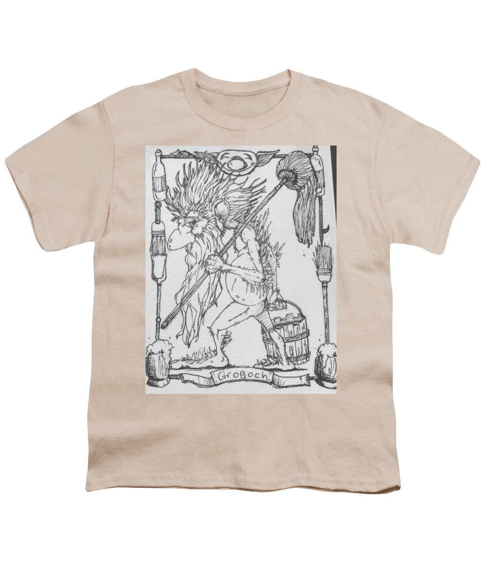 Fae Youth T-Shirt featuring the drawing Grogoch by Jason Strong