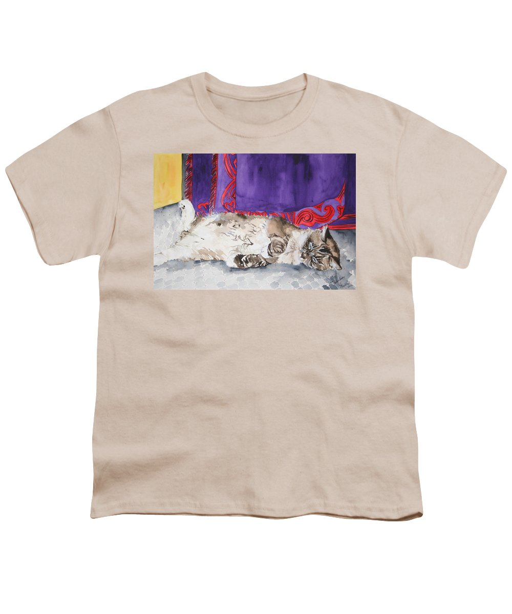 Cat Youth T-Shirt featuring the painting Guilley by Jean Blackmer
