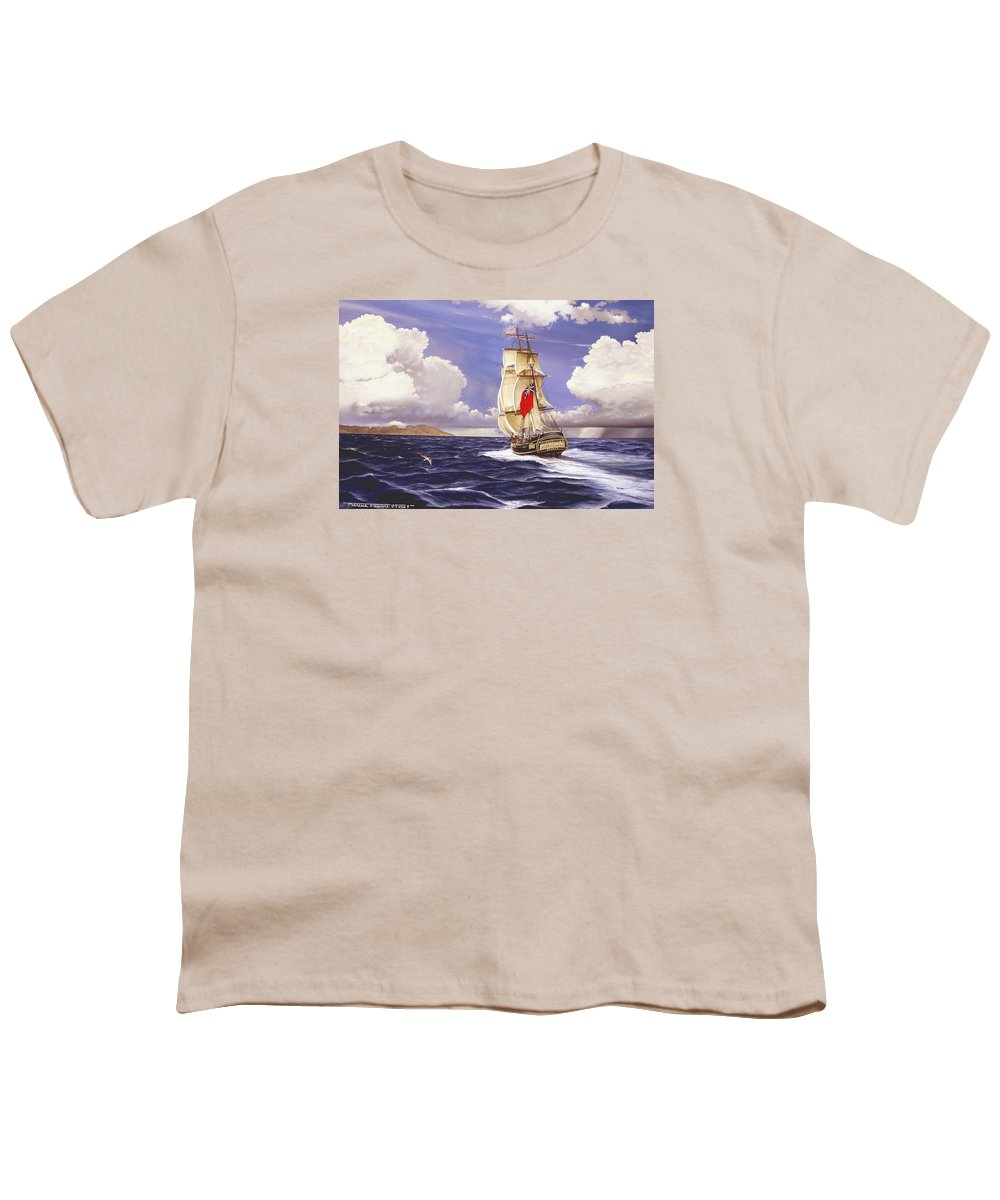 Marine Youth T-Shirt featuring the painting H. M. S. Bounty At Tahiti by Marc Stewart