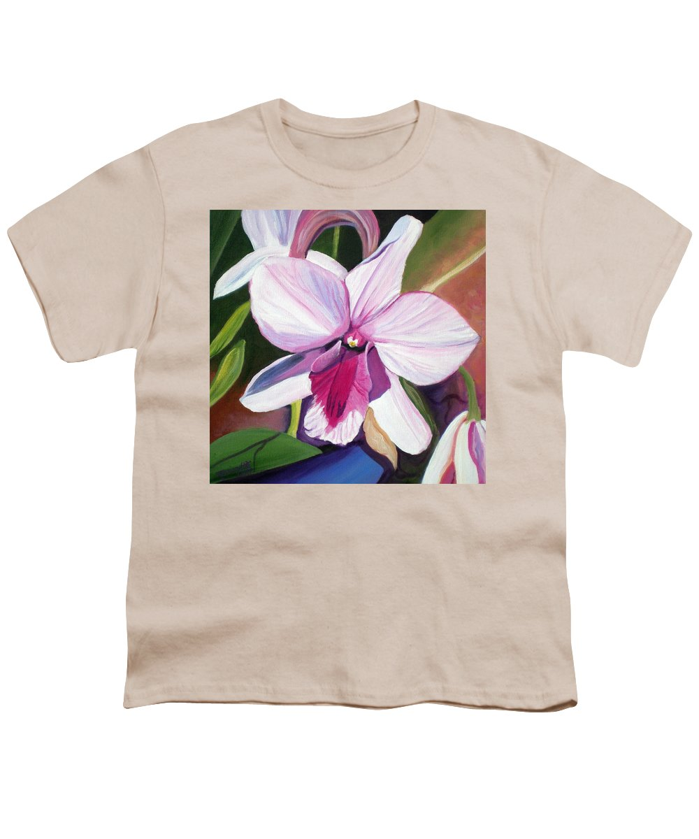 Kauai Youth T-Shirt featuring the painting Happy Orchid by Marionette Taboniar