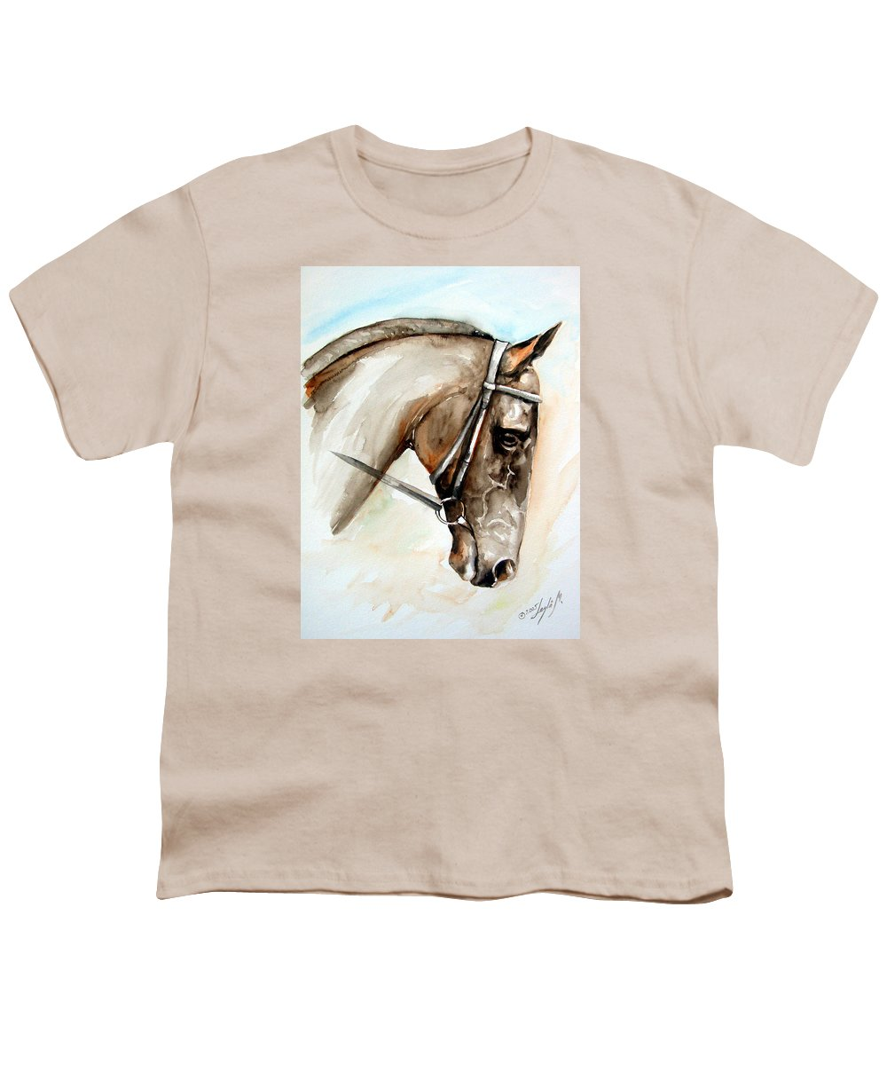 Horse Youth T-Shirt featuring the painting Horse Head by Leyla Munteanu