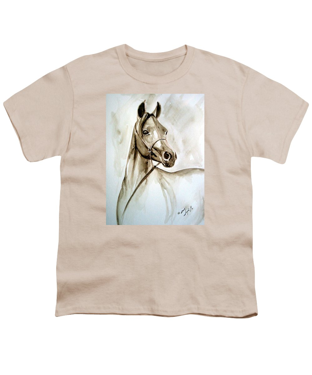 Portrait Of A Horse Youth T-Shirt featuring the painting Horse by Leyla Munteanu
