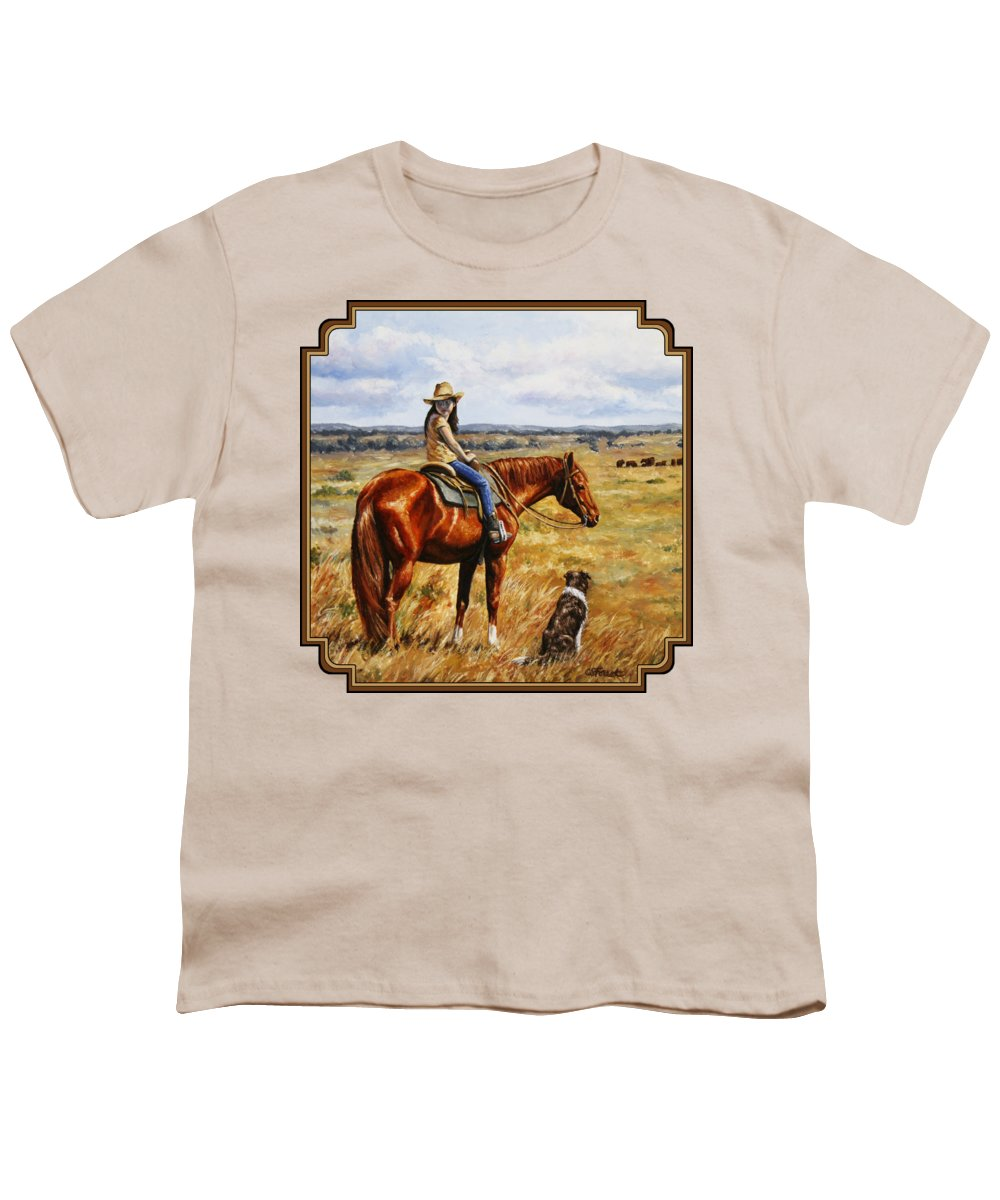 Western Youth T-Shirt featuring the painting Horse Painting - Waiting For Dad by Crista Forest