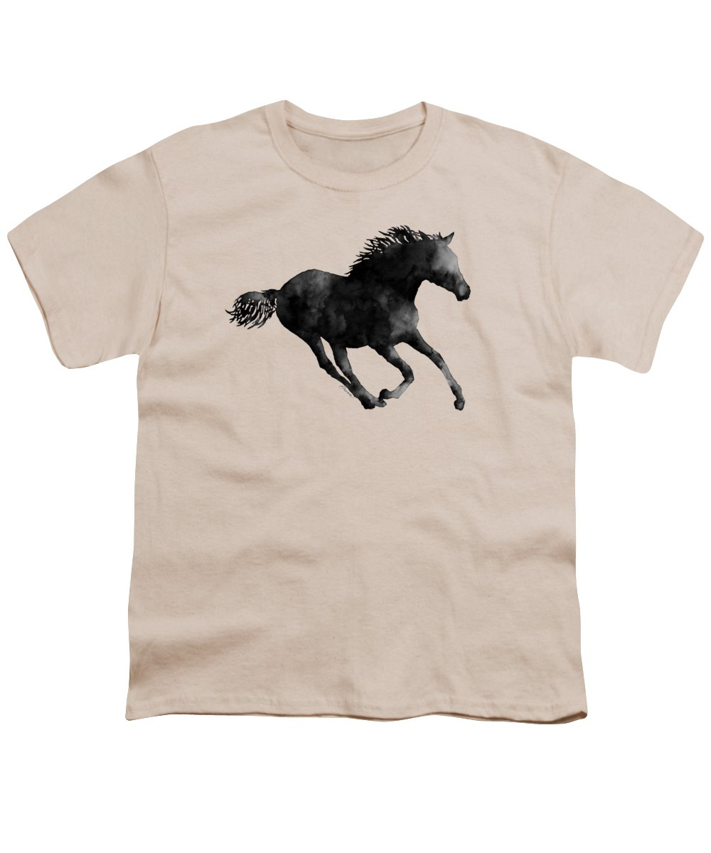 Horse Youth T-Shirt featuring the painting Horse Running In Black And White by Hailey E Herrera