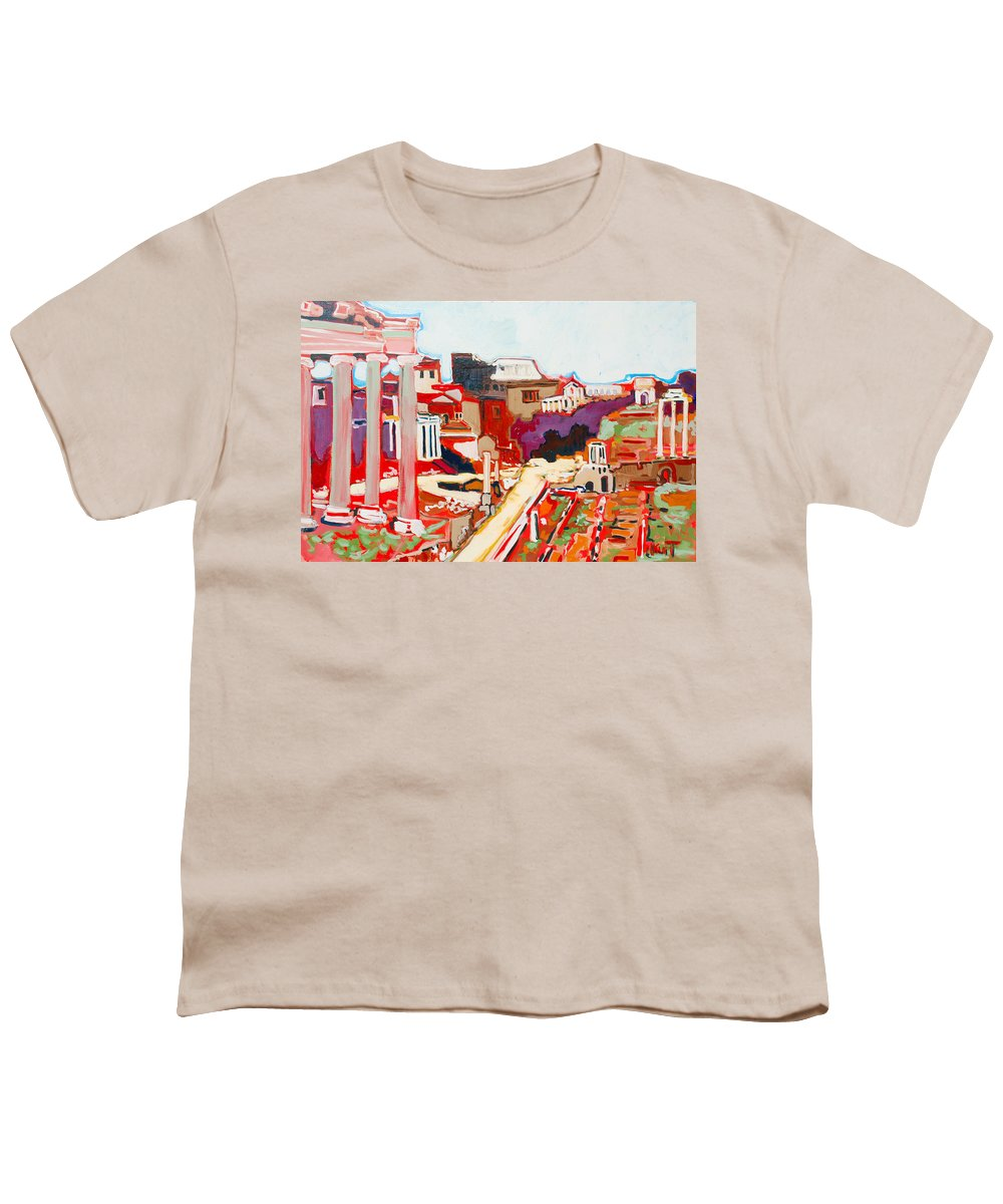 Rome Youth T-Shirt featuring the painting Il Foro Romano by Kurt Hausmann