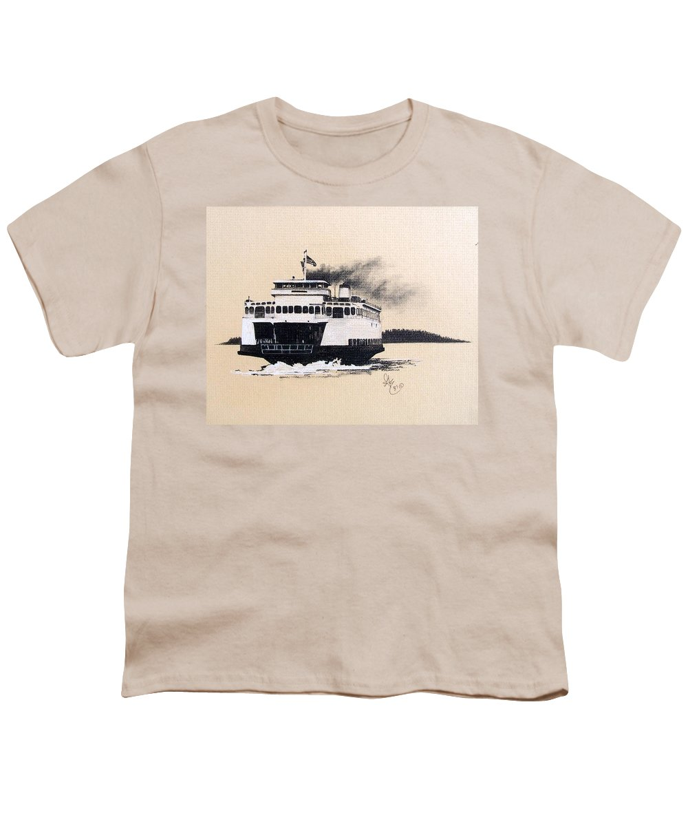 Ferry Youth T-Shirt featuring the pastel Issaquah by Gale Cochran-Smith