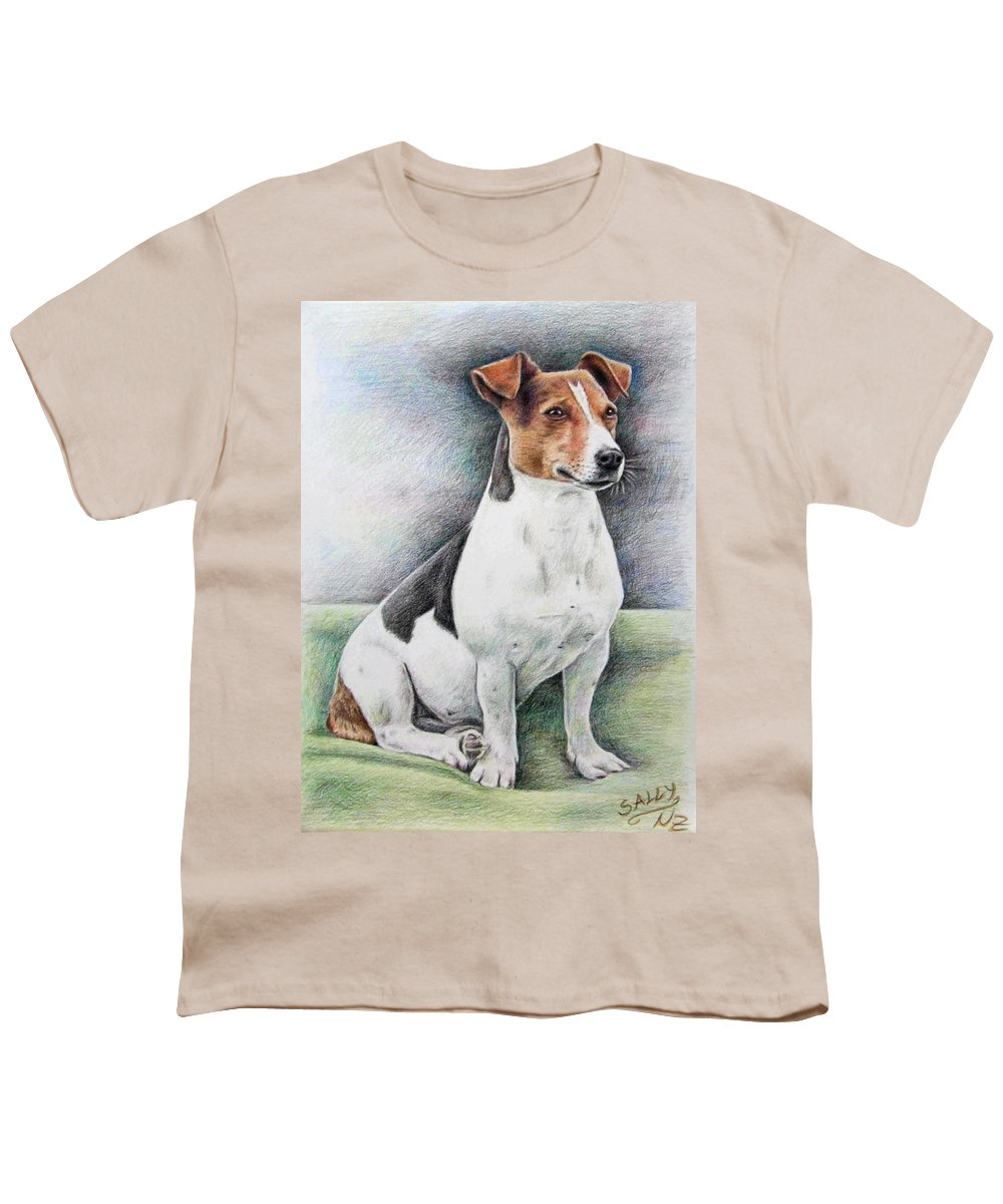 Dog Youth T-Shirt featuring the drawing Jack Russell Terrier by Nicole Zeug