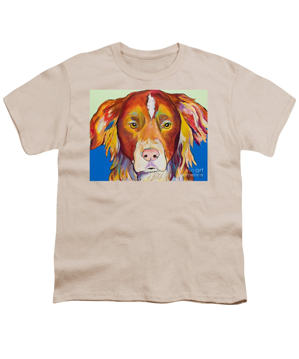 Australian Border Collie Youth T-Shirt featuring the painting Keef by Pat Saunders-White