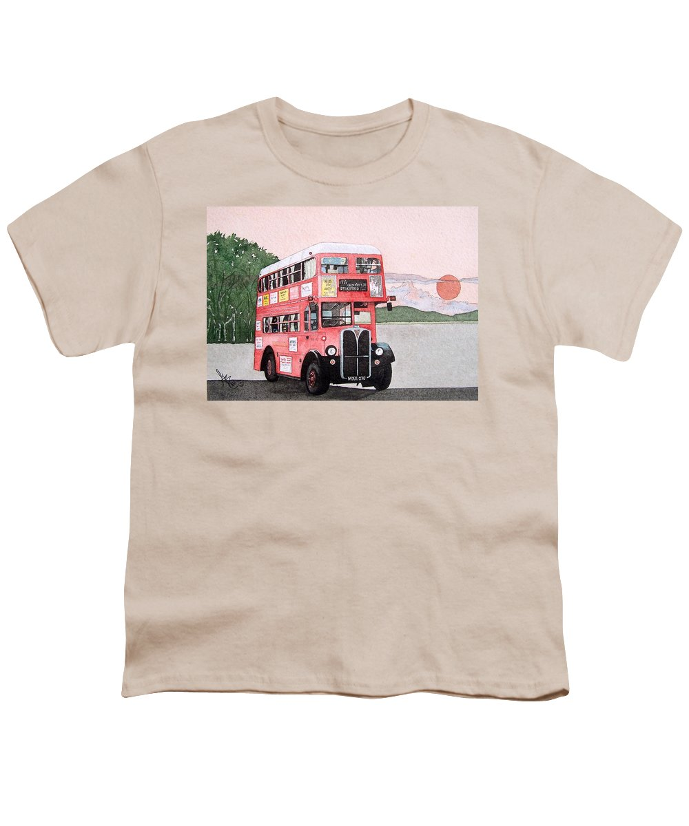 Bus Youth T-Shirt featuring the painting Kirkland Bus by Gale Cochran-Smith