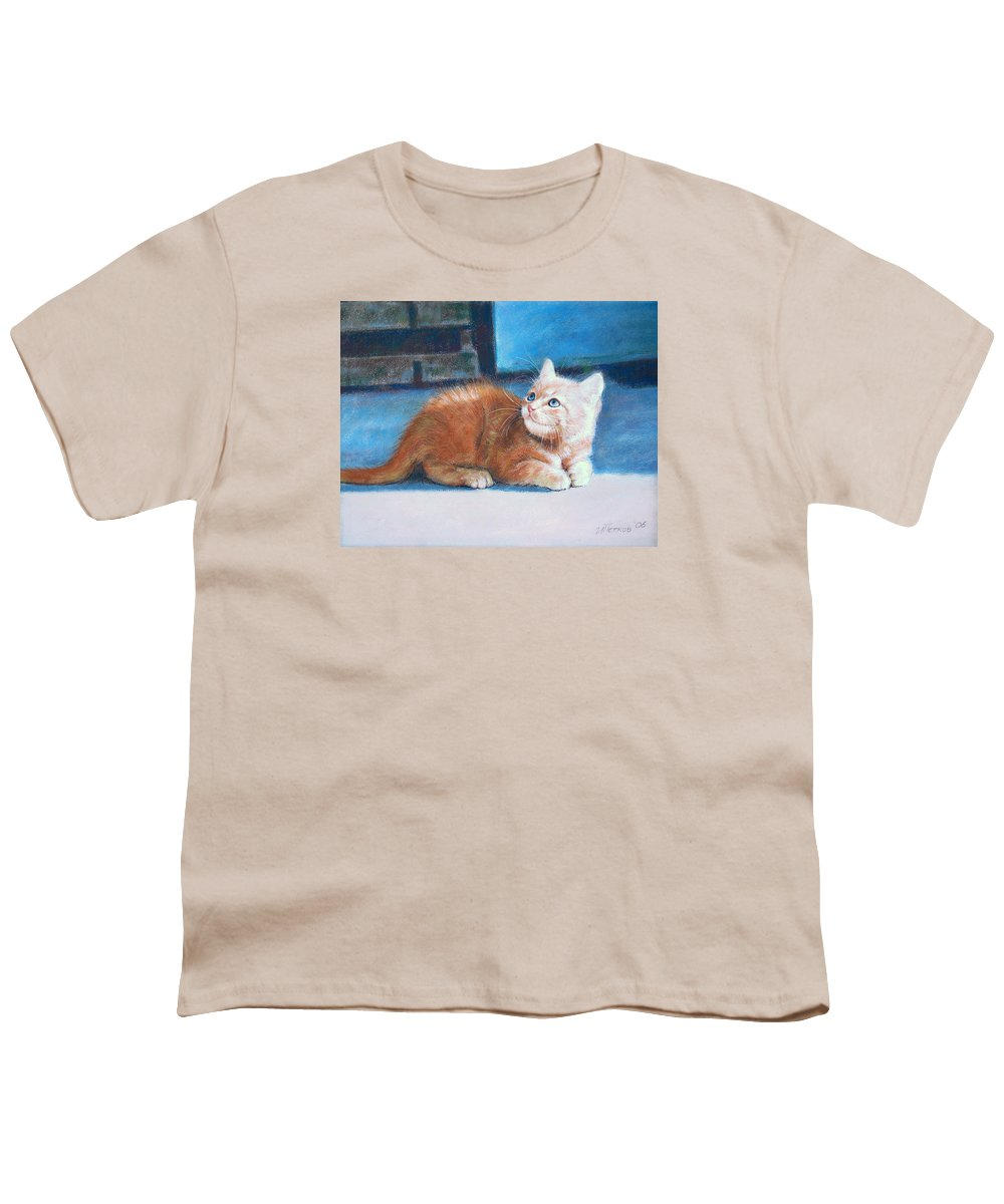 Cats Youth T-Shirt featuring the painting Kitten by Iliyan Bozhanov