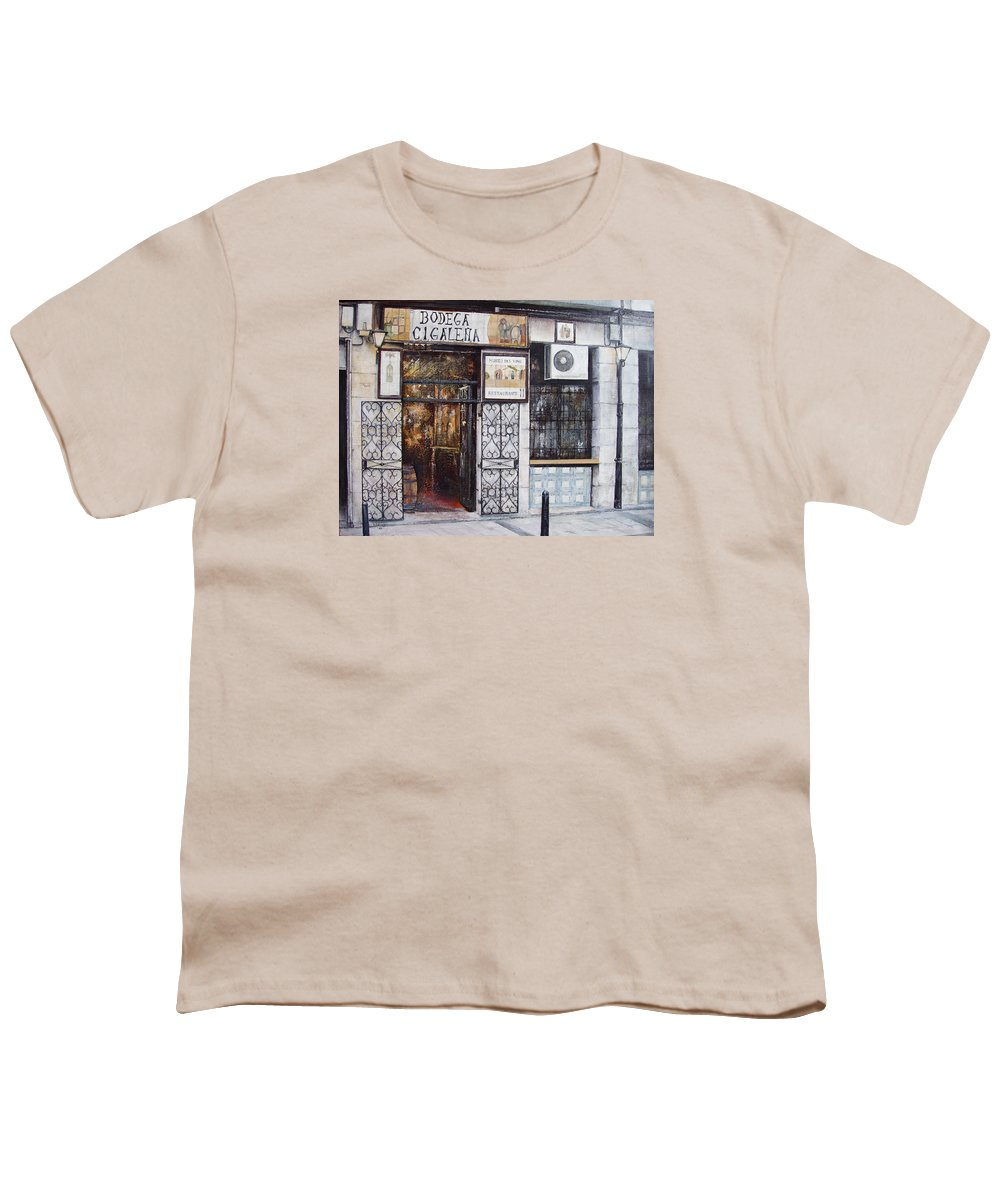 Bodega Youth T-Shirt featuring the painting La Cigalena Old Restaurant by Tomas Castano