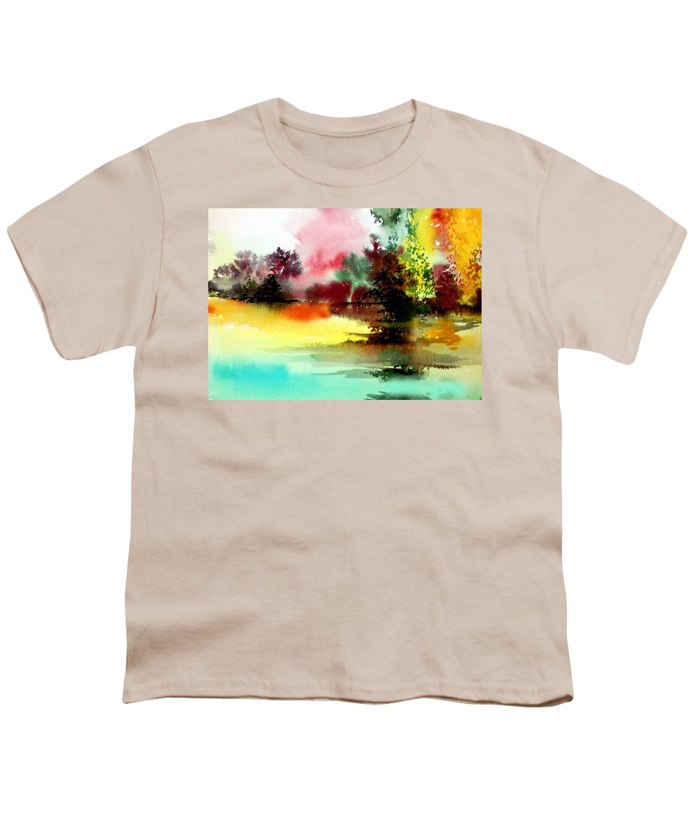 Nature Youth T-Shirt featuring the painting Lake In Colours by Anil Nene